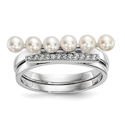925 Sterling Silver 4mm White Freshwater Cultured Pearl Cubic Zirconia Cz Duo Band Ring Size 6.00 Fine Jewelry Gifts For Women For ()