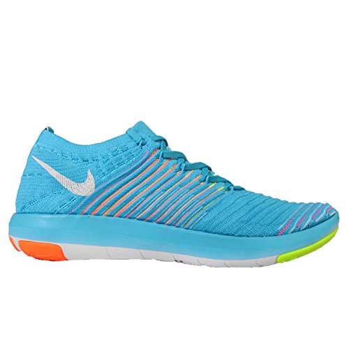 Nike Frauen Free Transform Flyknit Trainingsschuhe Gamma Blau Weiß Total Orange 400