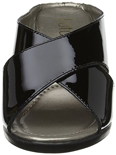 Lotus Punta Mujer Abierta Con Negro Sandalias Leather Trino black Patent qqxFpHwTr