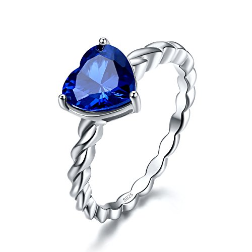 Merthus Womens 925 Sterling Silver Rope Band Created Blue Sapphire Heart Ring