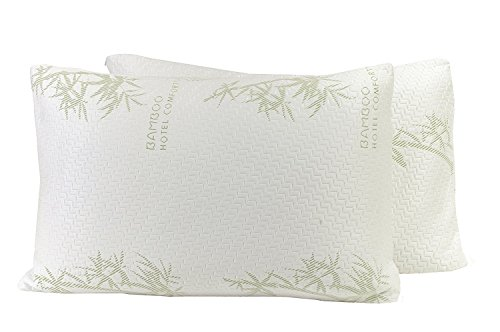 Home Redo Bamboo Covered Memory Foam Pillow - The Original Premium Stay Cool bamboo pillow - Hypoallergenic and Dust Mite Resistant - Queen - Set of - Polyurethane Set