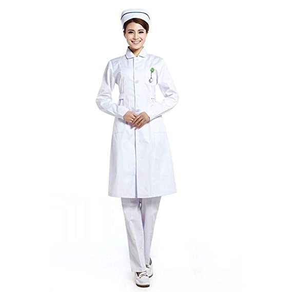 ESENHUANG Nurse Coat Medical Coat Enfermera Uniform Physician Services Manga Larga Hospital Clothes Plus Size Invierno: Amazon.es: Ropa y accesorios
