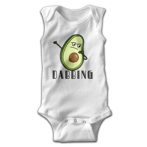 Hip Hop Dabbing Dab Dance Avocado Unisex Baby 100% Cotton Sleeveless Lap Shoulder Bodysuits 24 Months