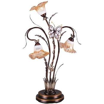 OK Lighting OK 9138T Flower Glass Shade Metal Table Lamp, 38 Inch,