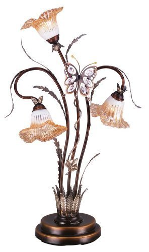 OK Lighting OK-9138T Flower Glass Shade Metal Table Lamp, 38-Inch, Bronze Finish (Flower Table Lamp)