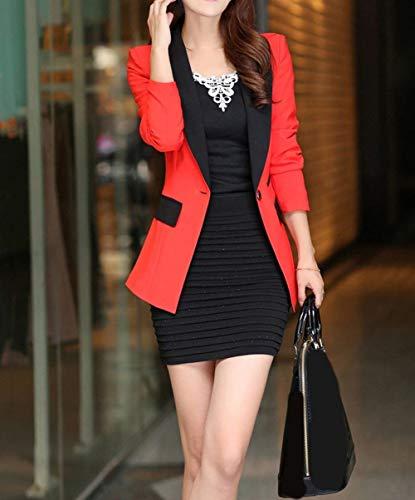 Slim Slim Slim Business fashion Donna Fit Fit Fit Button Giaccone Lunga HX Giacca Modern Chic Ragazza Bicolore Tailleur Manica Bavero Arancia Autunno Cappotto Stile da Tailleur Fq6xwtxd