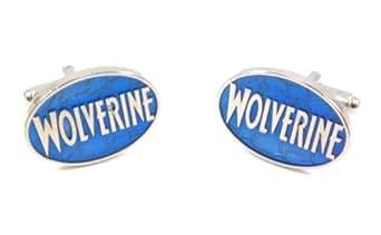X-Men Wolverine Blue & Silver Enamel Logo Cufflinks