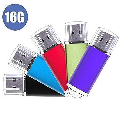 USB Flash Drive, 5 Pack Memory Stick Thumb Stick Pen USB2.0 Thumb Drives (Mixed Color) from JUYUKEJI