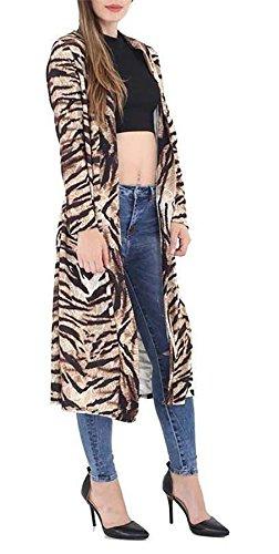 Duster Dames Fantaisie Manches Avant Ouvert Longues Imprim Cardigan Print Tartan Veste S Fashions Manteau Femmes Crpe Animal Tiger 3xl Islander qOz8Et