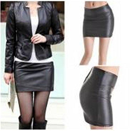 Femmes ODN Mini lastique synthtique Noir Cuir Taille Sexy Unique Jupe lgant Jupes Mini en Mat Noir qvq0U