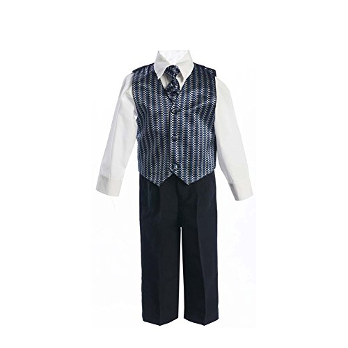 Little Boys Geometric Print Vest Necktie White Shirt Black Pants Outfit 4T - Print Back Tie Baby Doll