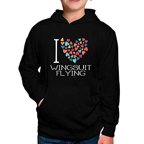 Idakoos I Love Wingsuit Flying Colorful Hearts Boy Hoodie 8 Black