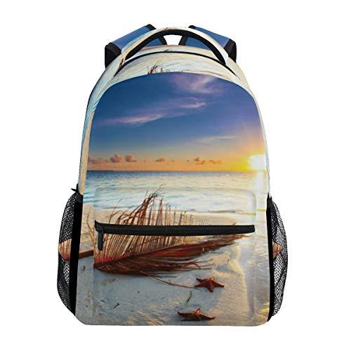 Backpack Beach Starfish Trendy Mens Laptop Backpacks Hiking Bag School Daypack -