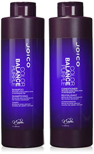 Joico Color Balance Purple Shampoo and Conditioner 33.8 oz Duo (Best Purple Shampoo For Blonde Color Treated Hair)