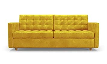 Sensational Amazon Com Eliot Mid Century Modern Leather Sleeper Sofa Squirreltailoven Fun Painted Chair Ideas Images Squirreltailovenorg