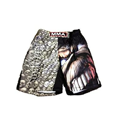 MMA Board Short in Black Skulls Sublimated with Embroidery L