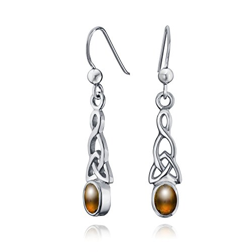 Brown Honey Amber Oval Bezel Love Knot Work Celtic Dangle Earrings For Women For Teen Fish Hook 925 Sterling Silver