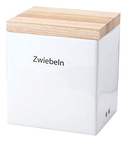 Continenta 1001266224 Zwiebel Vorratsdose Aus Keramik Mit Holzdeckel