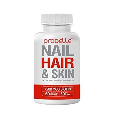 Probelle Hair, Skin & Nails Extra Strength multivitamin. 7500 mcg Biotin. 21 Essential Ingredients. Nourishment for Hair Growth, Healthy Skin, Strong Nails. for Men & Women. 60 Vegan Capsules.