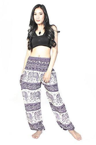 Cotton Rose Harem Pants for Women Elephant Bright Yoga Pants Petite Gypsy Baggy Pants (Purple HEbP)