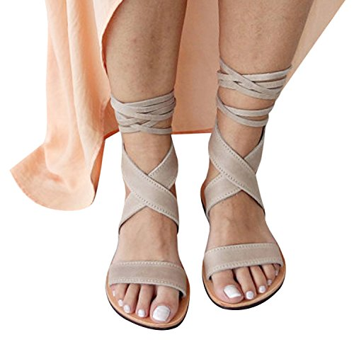 - Huiyuzhi Womens Lace up Flat Sandals Ankle Strappy Gladiator Sandal Flat Shoes (10-10.5 B(M) US, Beige)