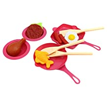 Little Treasures Cooking Frying & Grilling Playset - ideal for preschoolers to Pretend Play cookware & serve ware fry and grill pans with 3 ladles and 2 deep plates, Burger patty & fried egg toy