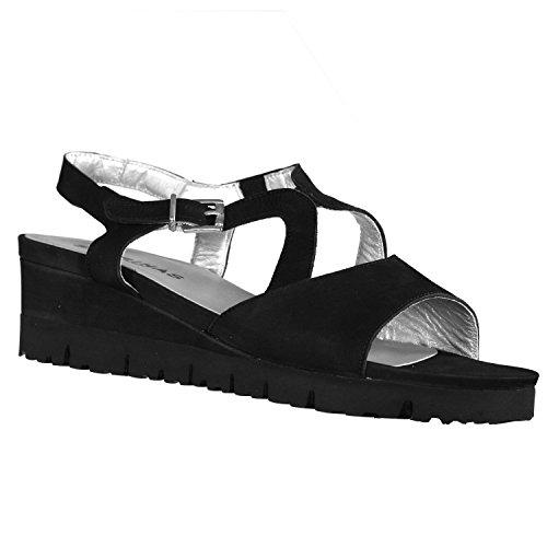 Sabrinas Mikonos Womens Nubuck Red/Black Leather Sandals Black 10.5 1f9I3yDJI