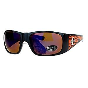 Choppers Flame Sunglasses Wrap Around Shield Frame Biker Shades UV 400