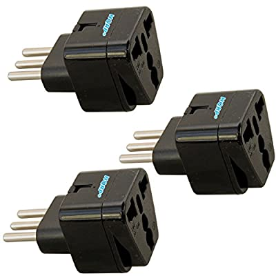 HQRP KIT: 3pcs Black Grounded Universal Travel Plug Adapters from USA / Japan, Europe / Russian, Great Britain Socket to Italy Socket plus HQRP Coaster