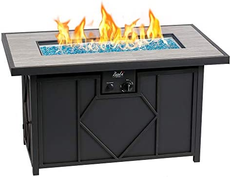 BALI OUTDOORS 42 Inch 60,000 Btu Rectangular Gas Fire Pit, Outdoor Propane Fire Pits Table Black