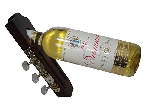 Guitar headstock shaped wine bottle holder