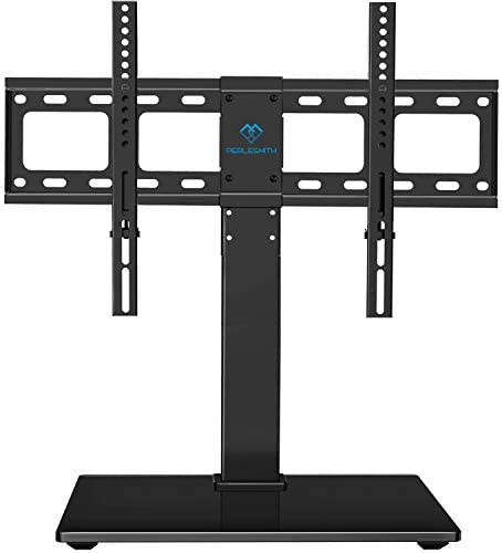 PERLESMITH Universal Swivel TV Stand / Base-Table Top TV Stand for 37-65 inch LCD LED TVs-Height Adjustable TV Mount Stand with Tempered Glass Base, VESA 600x400mm, Holds up to 88lbs, PSTVS13