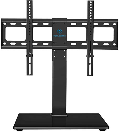 PERLESMITH Universal Swivel TV Stand / Base - Table Top TV Stand for 37-65 inch LCD LED TVs - Height Adjustable TV Mount Stand with Tempered Glass Base, VESA 600x400mm, Holds up to 88lbs (For Tv Glass Table)