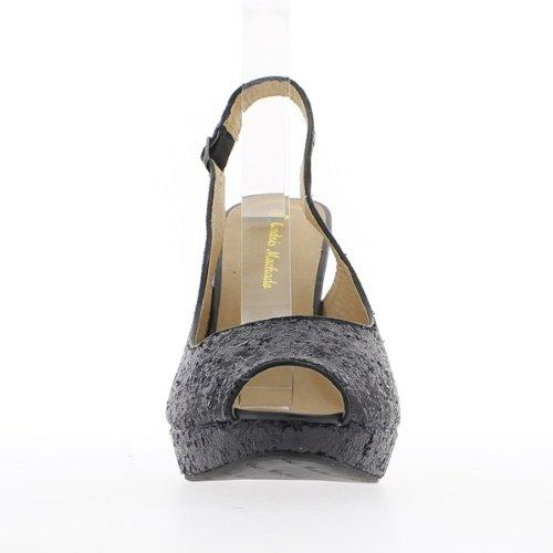 Donna Vita Sandali 12 Grandi Nero Con Paillettes 5cm Tacchi In axdOFq