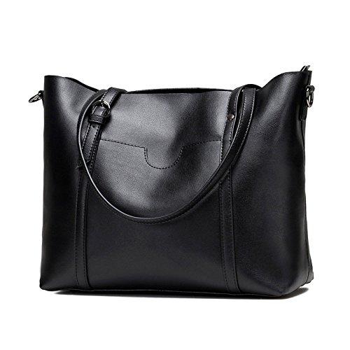 Black Main bag Women's Femme ZLL Main à Cuir Véritable à Pour En Sac Sac à Bandoulière Sac Cuir Décontracté Simple Sac Messenger U1n5dw5q