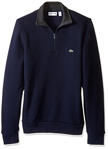 Lacoste Men's Half Zip Lightweight Interlock Sweatshirt, SH1462-51, Navy Blue/Dark Grey Jasper, M Shell Half Zip Mens Pullover