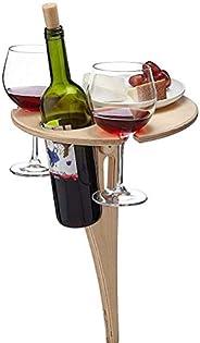 Gazaar Mesa de piquenique champanhe, suporte de vinho portátil de madeira, mesa de vinho ao ar livre, mesa red