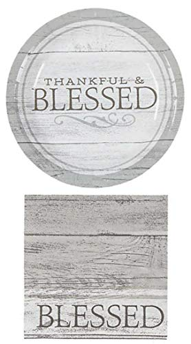 Charmed By Dragons Thankful and Blessed Farmhouse Party Supplies for 16 People: Dessert Plates and 3-ply Napkins