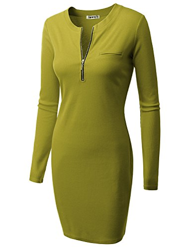 Sleeve Dress Doublju With Long Front Knit lightgreen Ribbed Zipper Womens Cwdsd079 qEXrE
