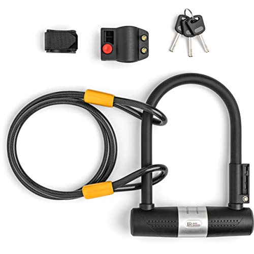 Bike U Lock with Cable – Heavy Duty Bike Lock with Key – A Must have Anti Theft Bike Accessory for High Security – Flexible 4ft braided steel cable and Mount – Reliable All Weatherproof Bicycle U Lock