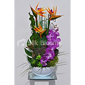 Artificial Purple Wax Coated Vanda Orchids and Bird of Paradise Floral Arrangement w/Succulents and Contorted Willow