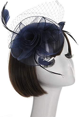 女子フェザー帽子パーティーヘアアクセサリー (ネイビー)