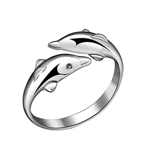 LAMEIDA Lovely Dolphin Ring Stylish Open Ring Adjustable Wedding Engagement Jewelry Accessories Anniversary Ring Gift for Women Girls