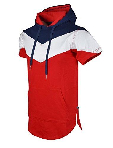 (SCREENSHOTBRAND-S11828 Mens Hip Hop Longline Premium Tee - Pullover Hooded Fashion T-shirt V-Shaped Color Block -Navy-Small)