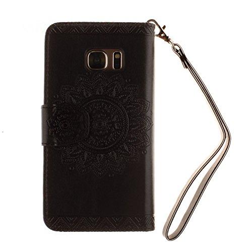 [ Samsung Galaxy S7 ] Funda Protector de Funda para Telefono Movil,Samsung Galaxy S7 Funda Caso de PU Cuero Leather,El Patrón de la Tribu Retro Moda Funda para Samsung Galaxy S7,Flip Folio Bookstyle c Flor Negro