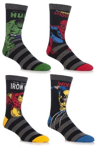 Cartoon Heroes Men's 4 Pair Marvel Comics Socks 12-13.5 Assorted