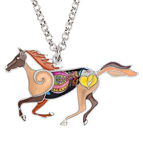 - BONSNY Enamel Running Horse Necklace Pendant Chain Zinc Alloy Animal Lovers Design 18