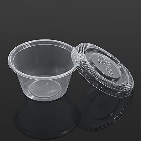 Cajas de Salsa de Plástico, Haofy Desechable Tazas de Salsa con tapa, Transparente Copas de condimentos de 50 Piezas para Mojar Salsa y Aderezo para Ensaladas, para Restaurantes y Hoteles (2oz)