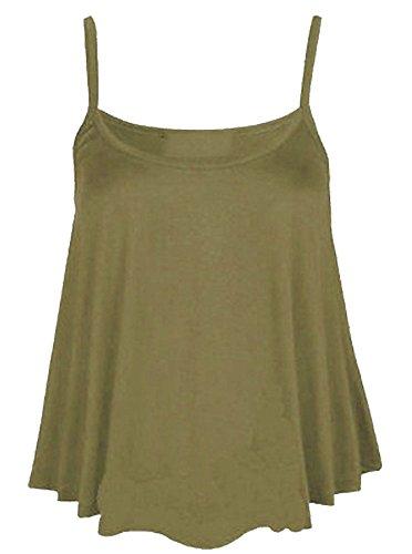 Camiseta mangas para o Un caqui mujer tirantes de tama sin rosa 21fashion color 4qtr46B