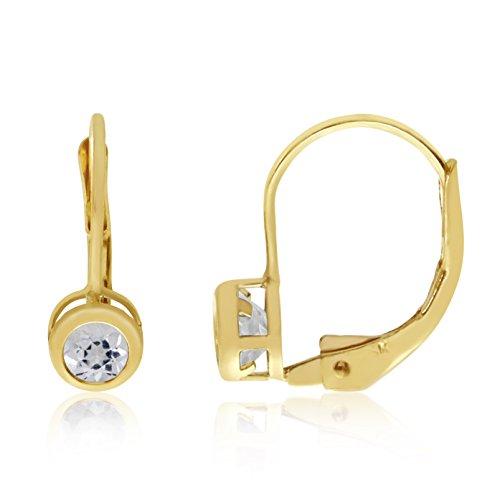 14k Yellow Gold 4mm White Topaz Bezel Leverback Earrings